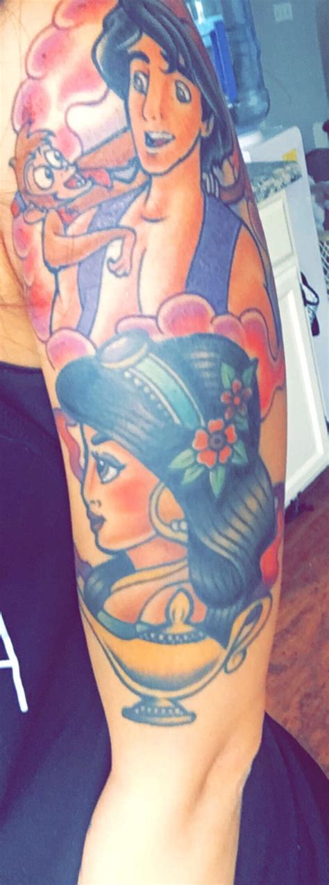 jasmine tattoo princess with and abu by at