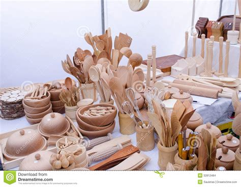 Handmade Sales - handmade wooden kitchen utensil tools market fair stock