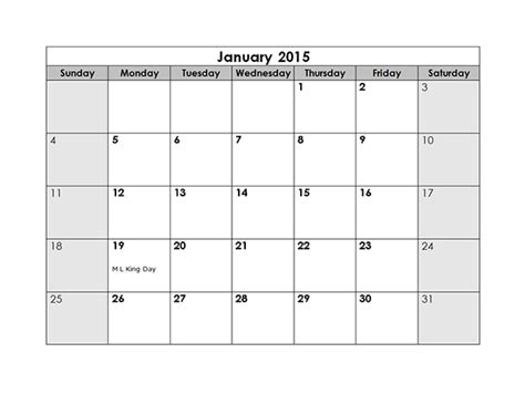monthly calendar templates free printable