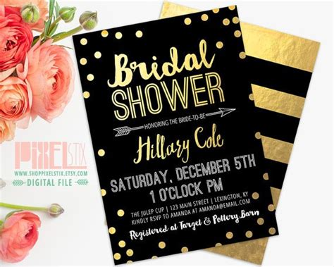 black and gold bridal shower invitations 14 printable bridal shower invitations exles