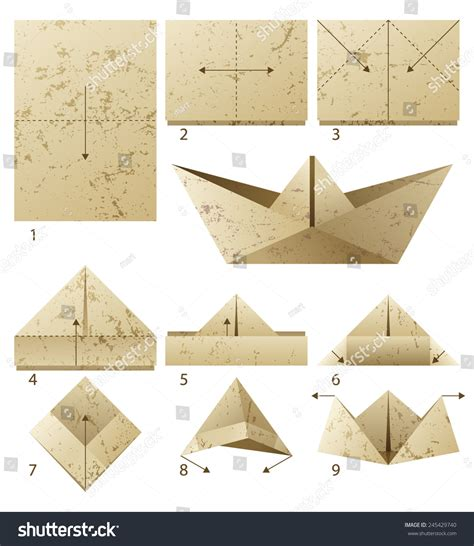 Steps To Make A Paper Boat - 9 steps how make paper stock vector 245429740