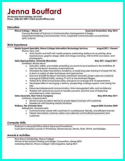 sample resume for college student best business template