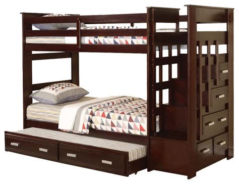 Bunk Beds With Stairs And Drawers Allentown Espresso Wood Bunk Bed W Storage Stairway Drawers Trundle Contemporary