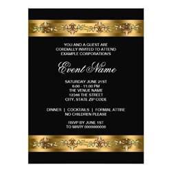 black and gold corporate event template 6 5x8 75 paper invitation card zazzle
