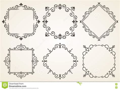 Free Card Caligraphy Template by Set Of Decorative Frames Vector Illustration