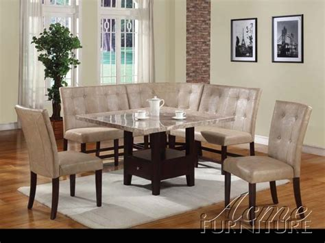 Corner Dining Room Furniture White Marble 6 Corner Dining Set By Acme 10280