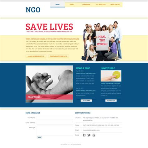 template for ngo ngo website template free website templates
