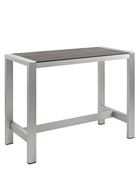 Large Bar Table Modern Outdoor Aluminum Wood Large Bar Table Modern Furniture Brickell Collection