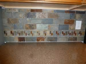 slate backsplash kitchen kitchen remodel slate tile backsplash with accents www mchenryhomeremodeling com