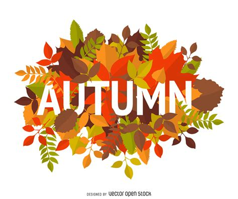 clipart autunno autumn sign with leaves vector