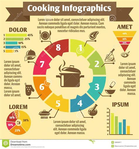 Cooking infographic icons stock vector. Image of