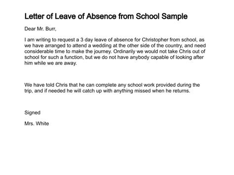 Absence Request Letter Sle Doc 750562 Letter Of Leave Of Absence Bizdoska