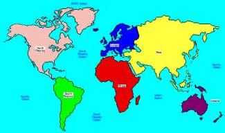 Map of continents and oceans for kids