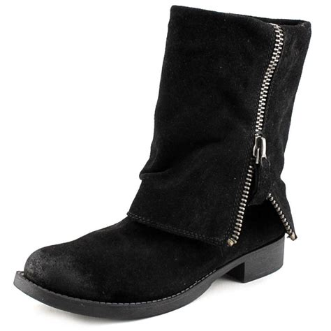 nine west thomasina suede black mid calf boot boots