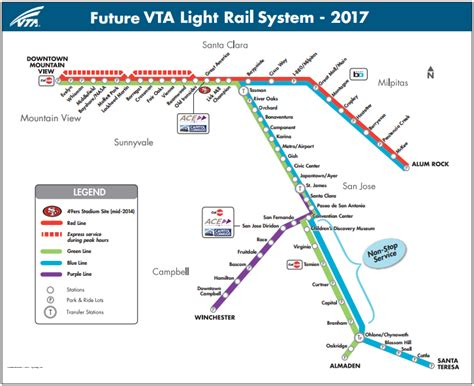 san jose light rail map the san jose vta light rail turns 25