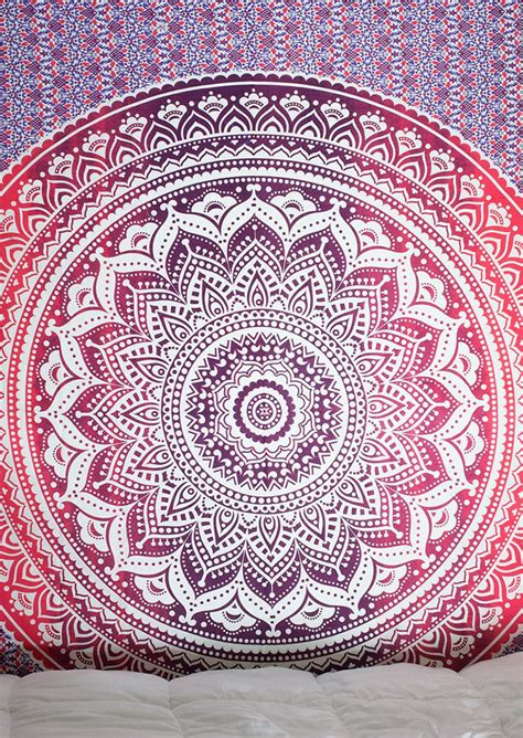 mandala pattern rectangle beach blanket fairyseason