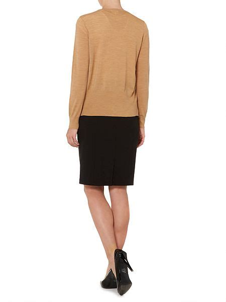 house of fraser ls linea machine washable merino ls cardigan camel house of