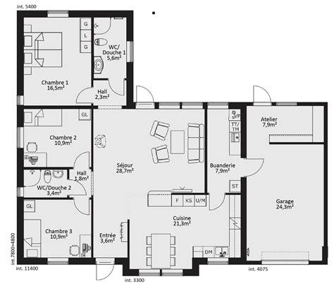 Plan Maison Plain Pied 50m2 Maison Ossature Bois Projet plan maison ossature bois plain pied maison moderne