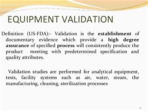 design validation definition fda equipment validation