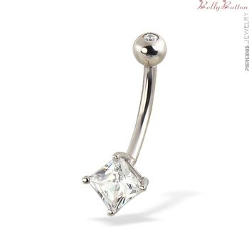 14k white gold belly ring with square gem