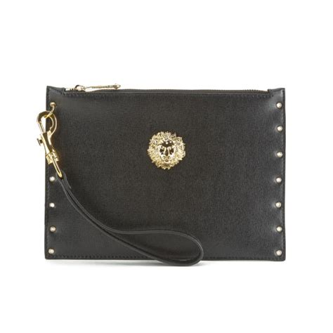 Versace Clutch versus versace s safety pin stud clutch bag black