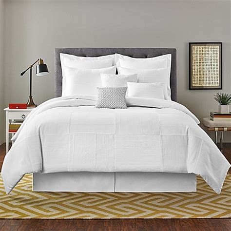 real simple 174 linear patchwork comforter set in white bed bath beyond