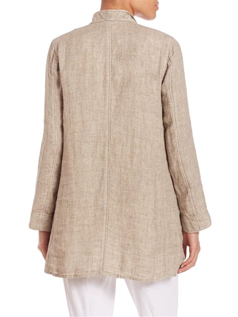 Weaving Multilayer Collar Beige eileen fisher weave organic linen stand collar coat in lyst