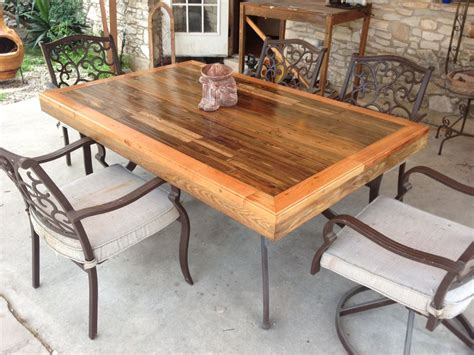 Patio Tabletop Made From Reclaimed Deck Wood Wood Patio Tables