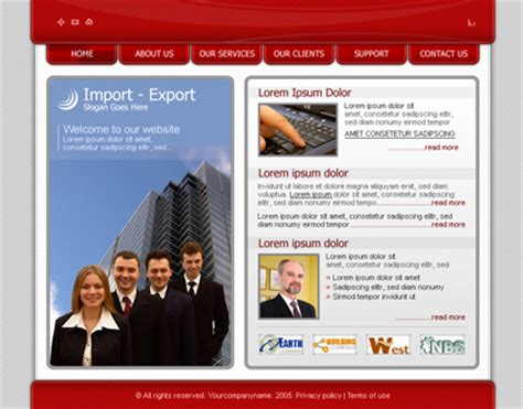 website templates for export business free website templates provided by hostgator com