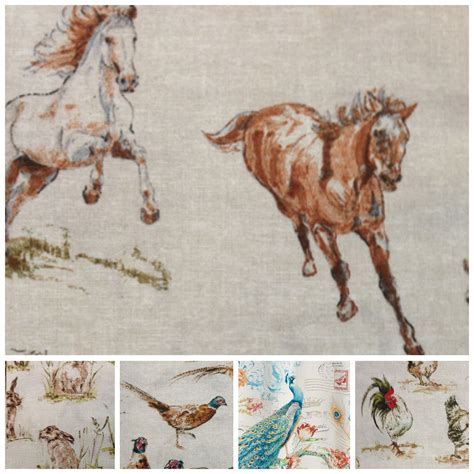 horse fabric for curtains vintage linen look country side animals digital print