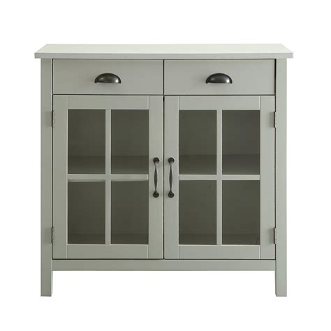 cabinet with glass doors and drawers white accent cabinet 2 glass doors and 2 drawers sk19087d2 pw the home depot
