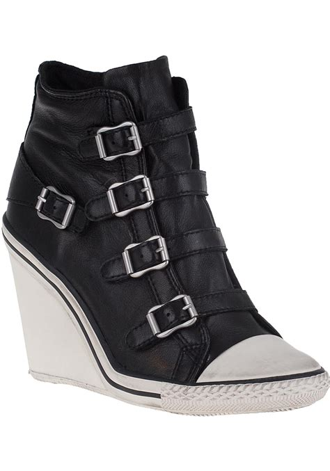 black and white wedge sneakers lyst ash thelma leather wedge sneakers in black