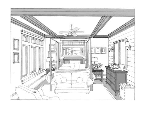 Perspective Drawing Of Bedroom by Kitchen Plan And Perspective Sketch Renderings