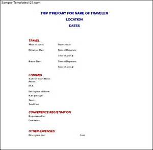 Itinerary Template Doc by Trip Itinerary Doc Format Template Sle Templates
