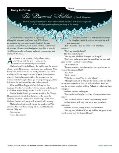 Irony Worksheets by Irony In Prose The Necklace Figurative Language