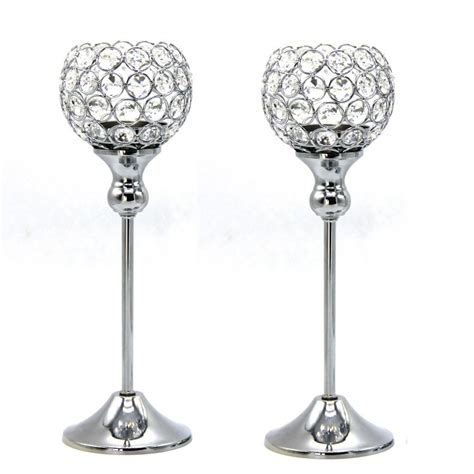 Metal Candle Holders Centerpieces 2pcs 12inch Wedding Candle Holder Metal Silver