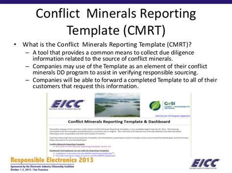 conflict minerals reporting template gallery templates