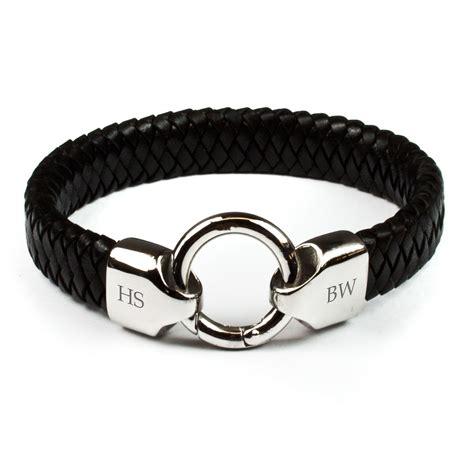 leather bracelet mens personalised s infinity leather bracelet treat republic