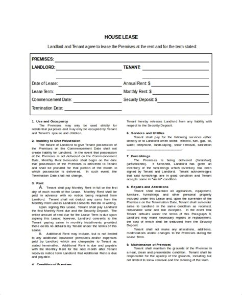 house lease template   word  documents