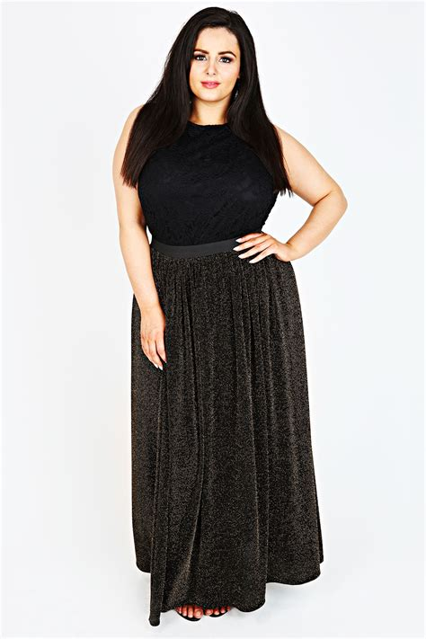 black gold metallic lurex maxi skirt plus size 14 16 18