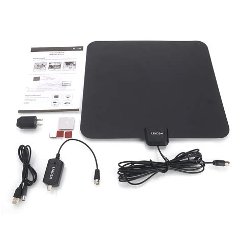 leadzm 50 range flat hd digital indoor lified tv antenna with lifier ebay