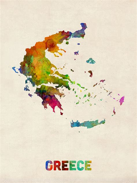 google gr art christmas cards greece watercolor map digital by michael tompsett