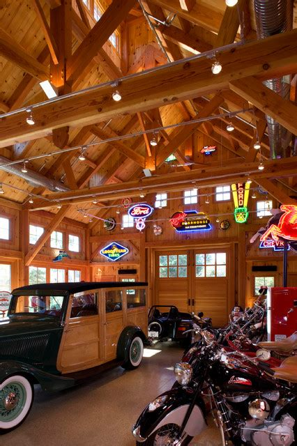 barn interior  exposed stained wood  hand hewn beams