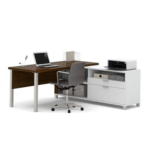 Computer Desk Legs Bestar Pro Linea L Desk With Legs In White And Oak Barrel 120883 30