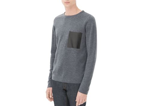 Pocket Sweater sandro leather pocket sweater in gray for lyst