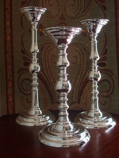 godinger silver hammered candlesticks set of 3 free new silver plated pillar tall candle holders set of 3 by