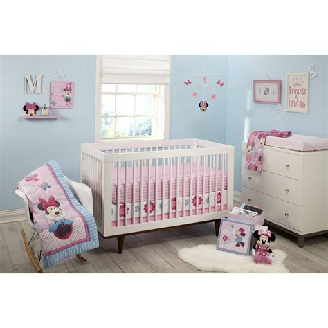 Disney Minnie Mouse Happy Day 4 Piece Crib Bedding Set Ebay Disney Minnie Mouse Crib Bedding Set