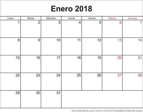 Calendario 2018 Enero Calendarios Para Imprimir Printableblankcalendar Org Es