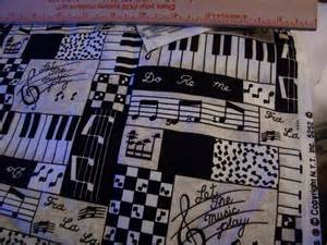 Bright Upholstery Fabric Music Themed Print Cotton Fabric Let The Music Play Black