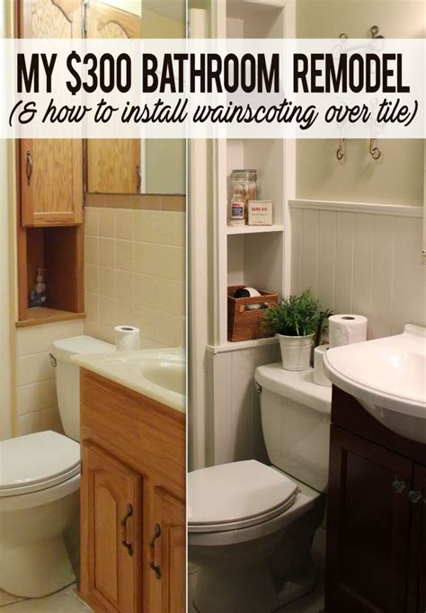how to remodel bathroom cheap installing shiplap paneling over tile in a cheap bathroom